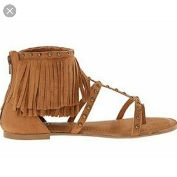 9813b1565 Not Rated Xenia Tan Boho Fringe Sandals. M 5b60b4f7c2e9fe4101e699b5